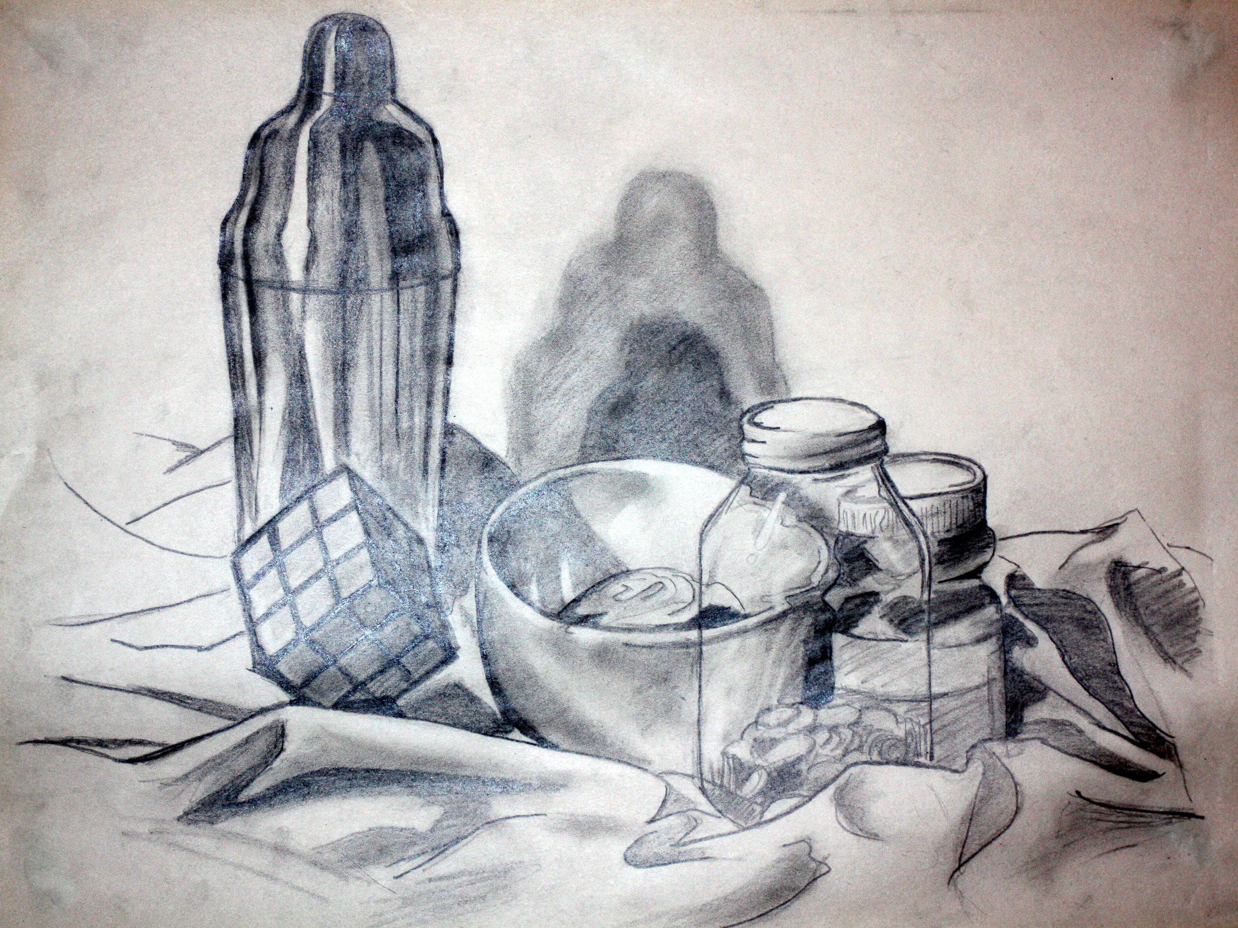 "Still-life Sketch (2009)  Pencil on Newsprint   (18""x24"")"