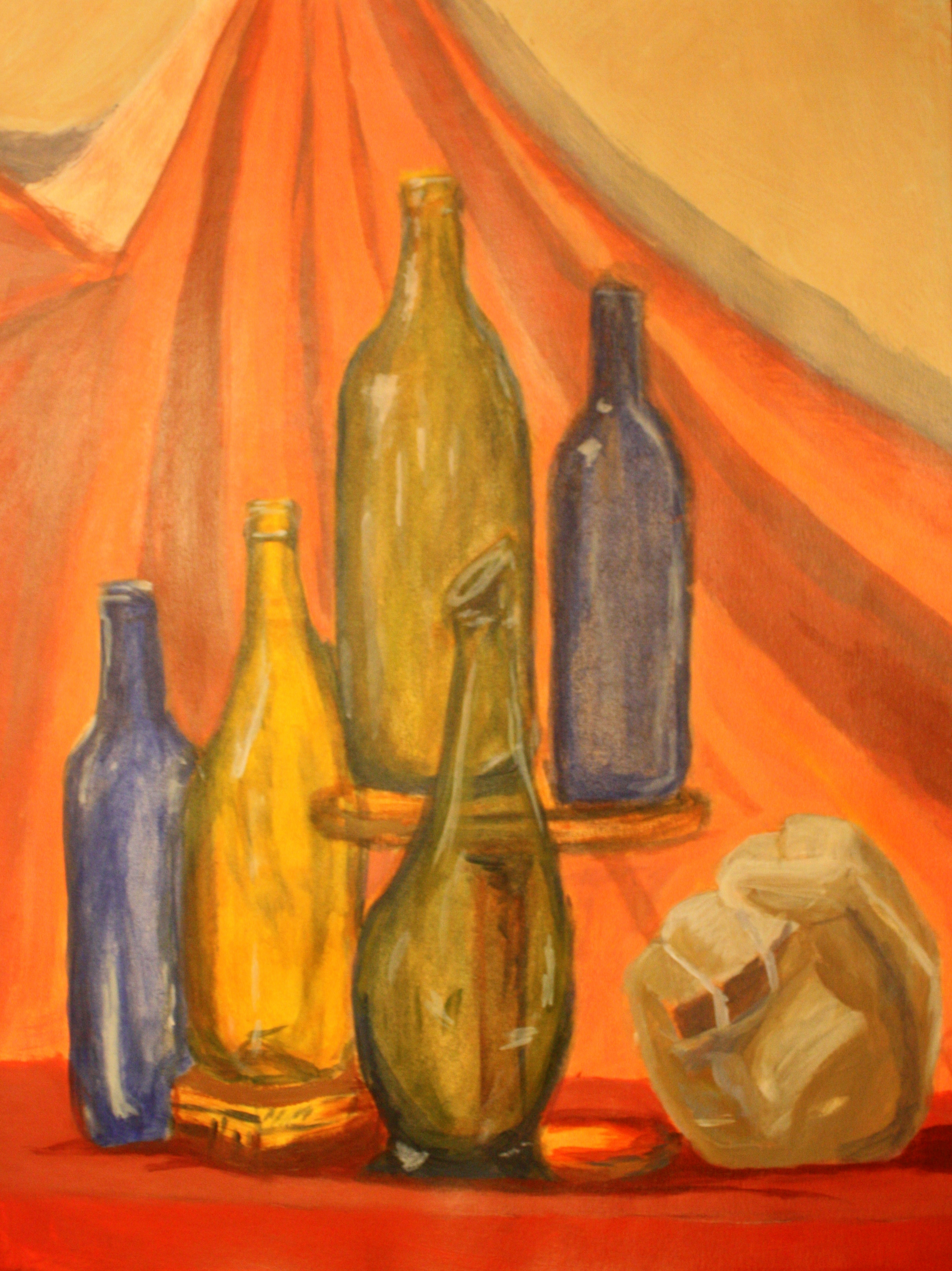 "Five Bottles & Stone Fist (2004)  Acrylic on Poster Board  (24""X18"")"