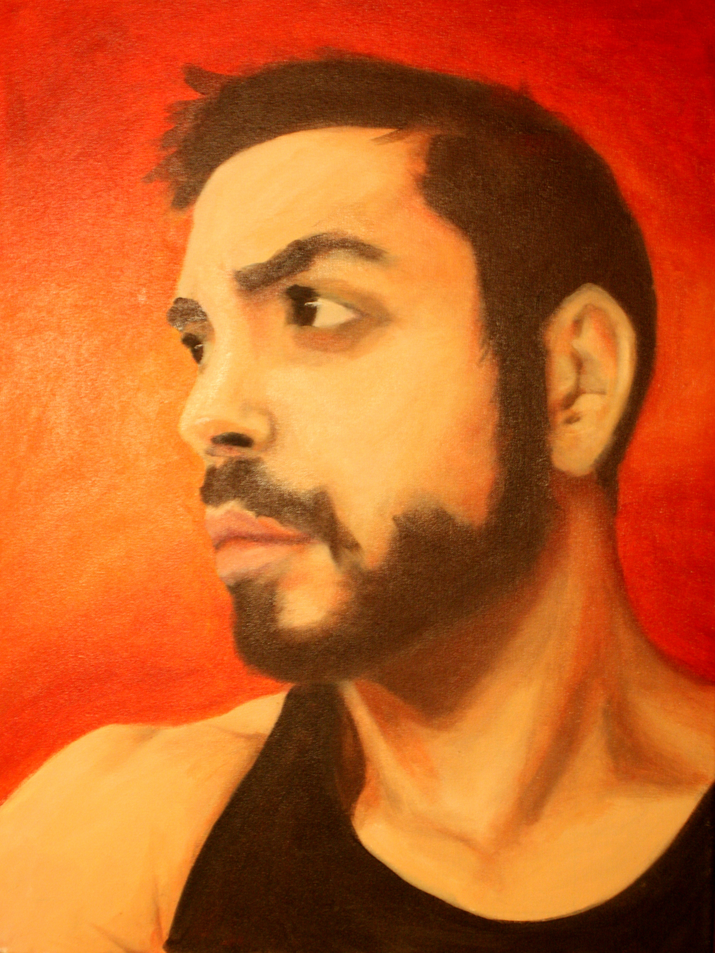 """Self-Portrait, Jose Luis Rodriguez (2010)     Oil on Canvas  30""""H x 24"""" W  Self-portrait is  an oil painting of the artist Jose Luis Rodriguez which shows a sharp  and detailed analysis of the physical lines and texture of the upper  body. It captures the emotional expression through light and powerful  colors."""