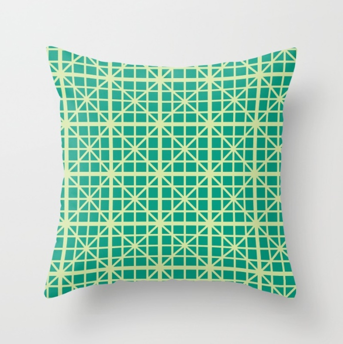 """Vic Geometric  Throw Pillow by SickSweet.  Throw pillow cover made from 100% spun polyester poplin fabric. Individually cut and sewn by hand, the pillows are available in 16""""x16"""", 18""""x18"""", or 20""""x20"""" sizes with or without inserts, and in indoor and outdoor fabric options. It features a double-sided print and is finished with a concealed zipper for ease of care. Buy it  here ."""