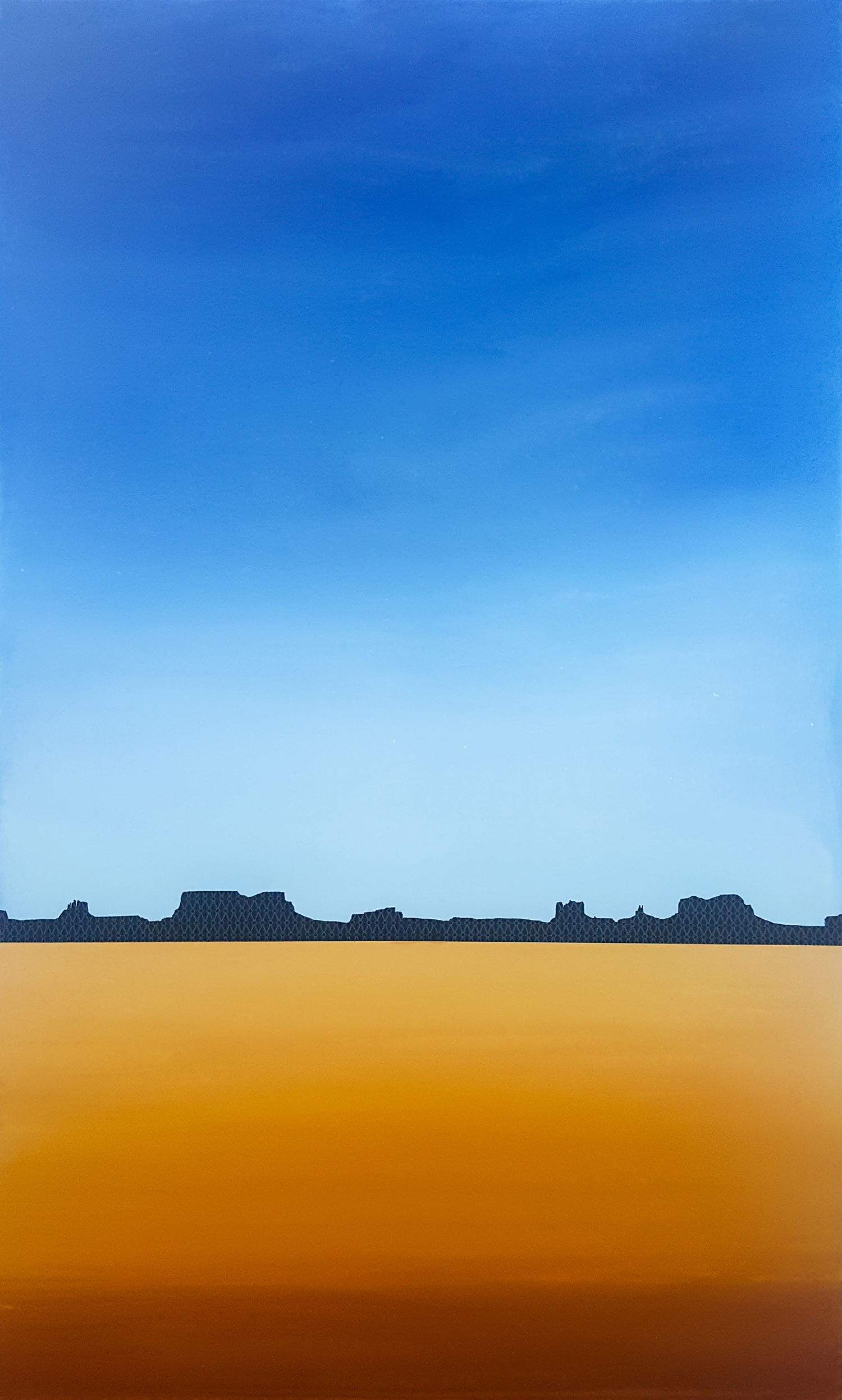 Desert Silhouette with Plateau, 2017. Acrylic and screenprint on panel. 36 x 60 x 2 in.