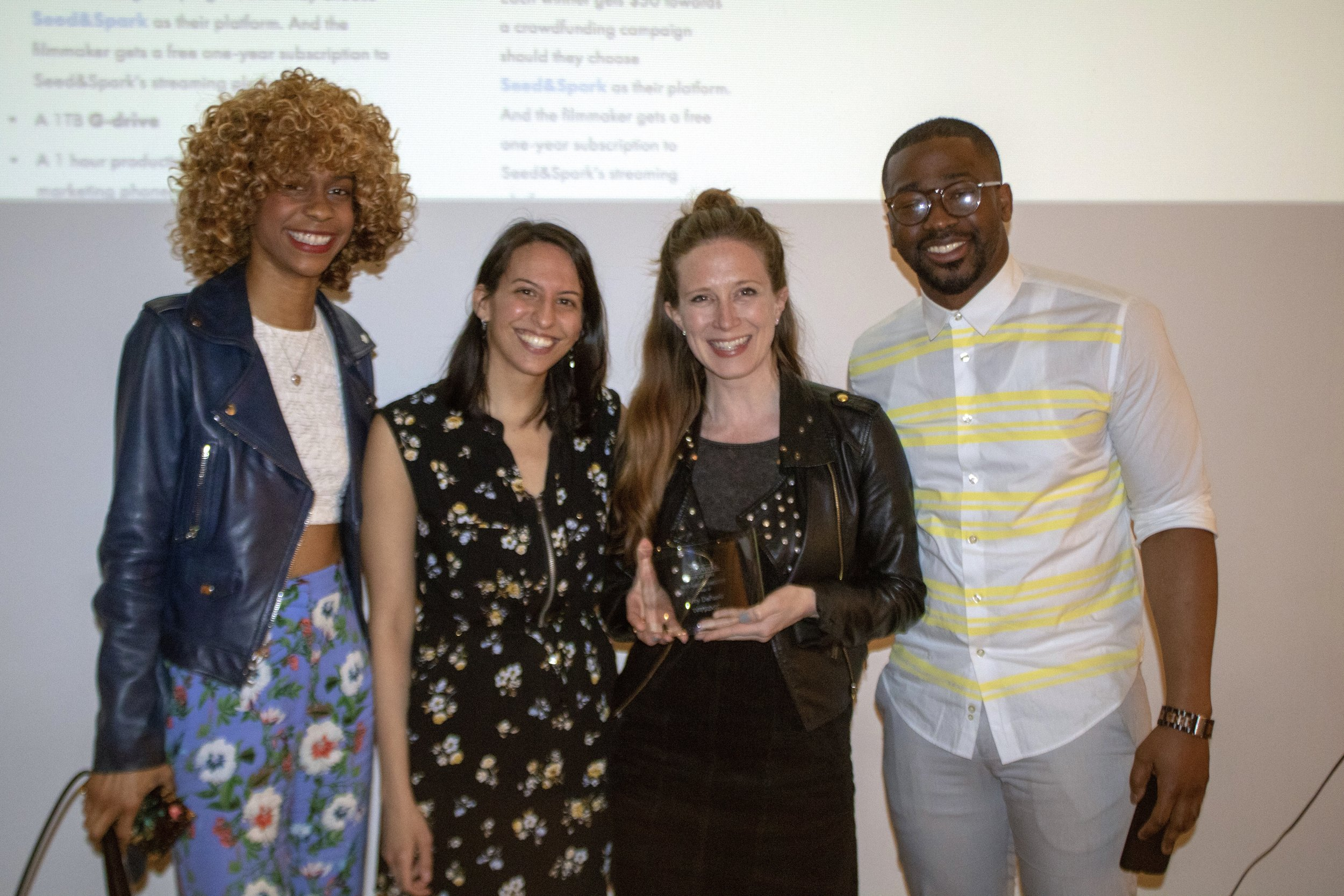 """BEST WRITER/DIRECTOR : """" AMYDEE """" (Amy DePaola - Wins $50 towards a  Seed&Spark  campaign, a free one-year subscription to Seed&Spark's streaming platform, and script coverage from the CongestedCat team of one future short screenplay."""