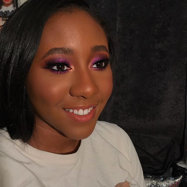 Gorgeous work by  @heynelli ・・・ How divine is purple on chocolate skin? This purple is from @colouredraine  Berry Cute palette that I picked up from @rickys_nyc  What are some of your favorite jewel tone eyeshadows? 💜⤵️ #prom2018 #makeupforblackwomen #jeweltones #heynelli #thepurposedrivenartist #thatmakeuplife