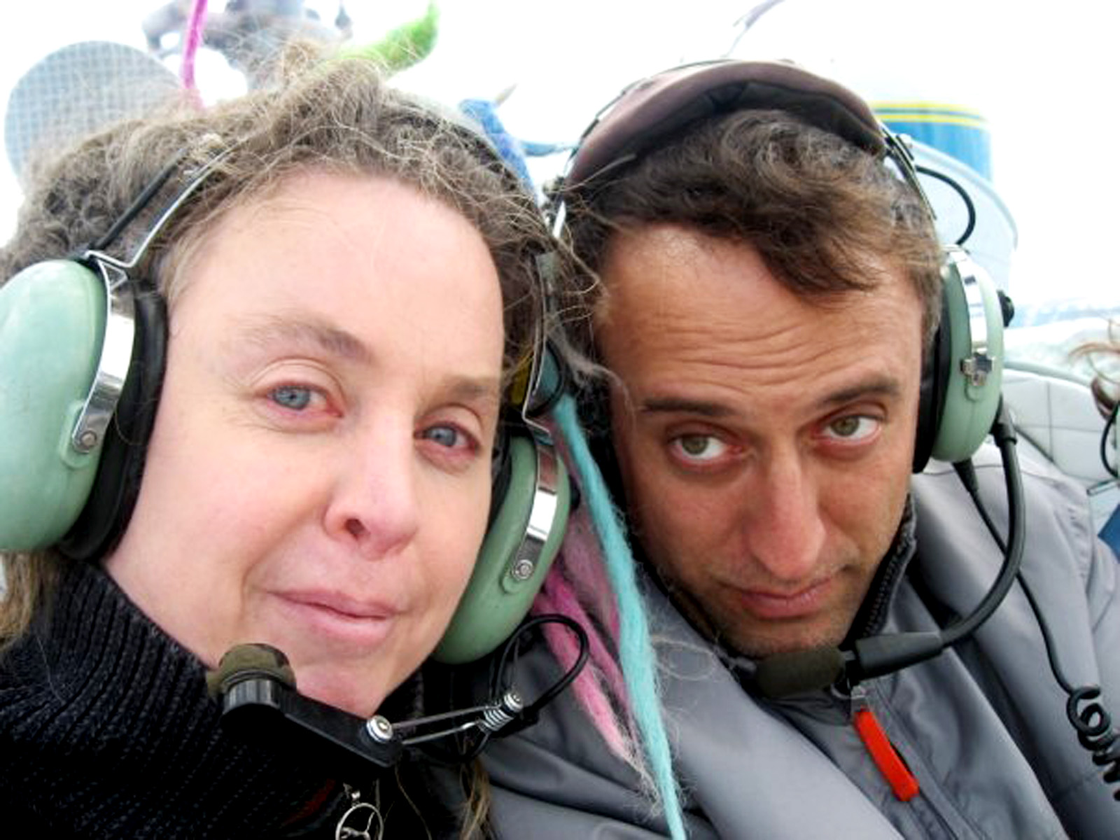 bradford and molly in a bell 47 helicopter