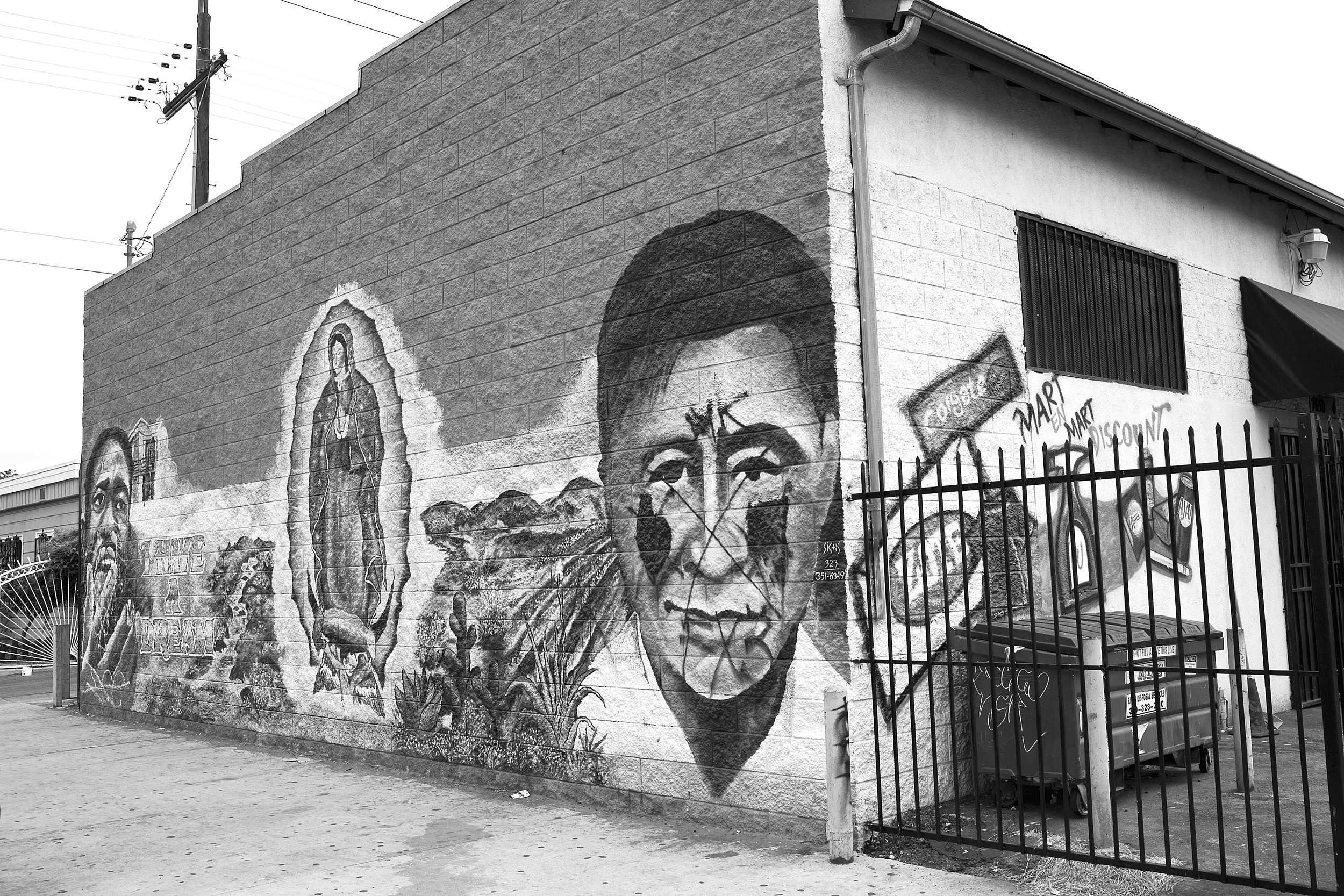 """A mural painted on the wall of a convenience store in South Los Angeles features Martin Luther King, Jr., the Virgin of Guadalupe, and César Chávez. The mural was commissioned by building owner Abel Jimenez and painted by an artist named Saul (last name unknown). 2009.                                0     false             18 pt     18 pt     0     0         false     false     false                                                     /* Style Definitions */ table.MsoNormalTable {mso-style-name:""""Table Normal""""; mso-tstyle-rowband-size:0; mso-tstyle-colband-size:0; mso-style-noshow:yes; mso-style-parent:""""""""; mso-padding-alt:0in 5.4pt 0in 5.4pt; mso-para-margin:0in; mso-para-margin-bottom:.0001pt; mso-pagination:widow-orphan; font-size:10.0pt; font-family:""""Times New Roman"""";}"""