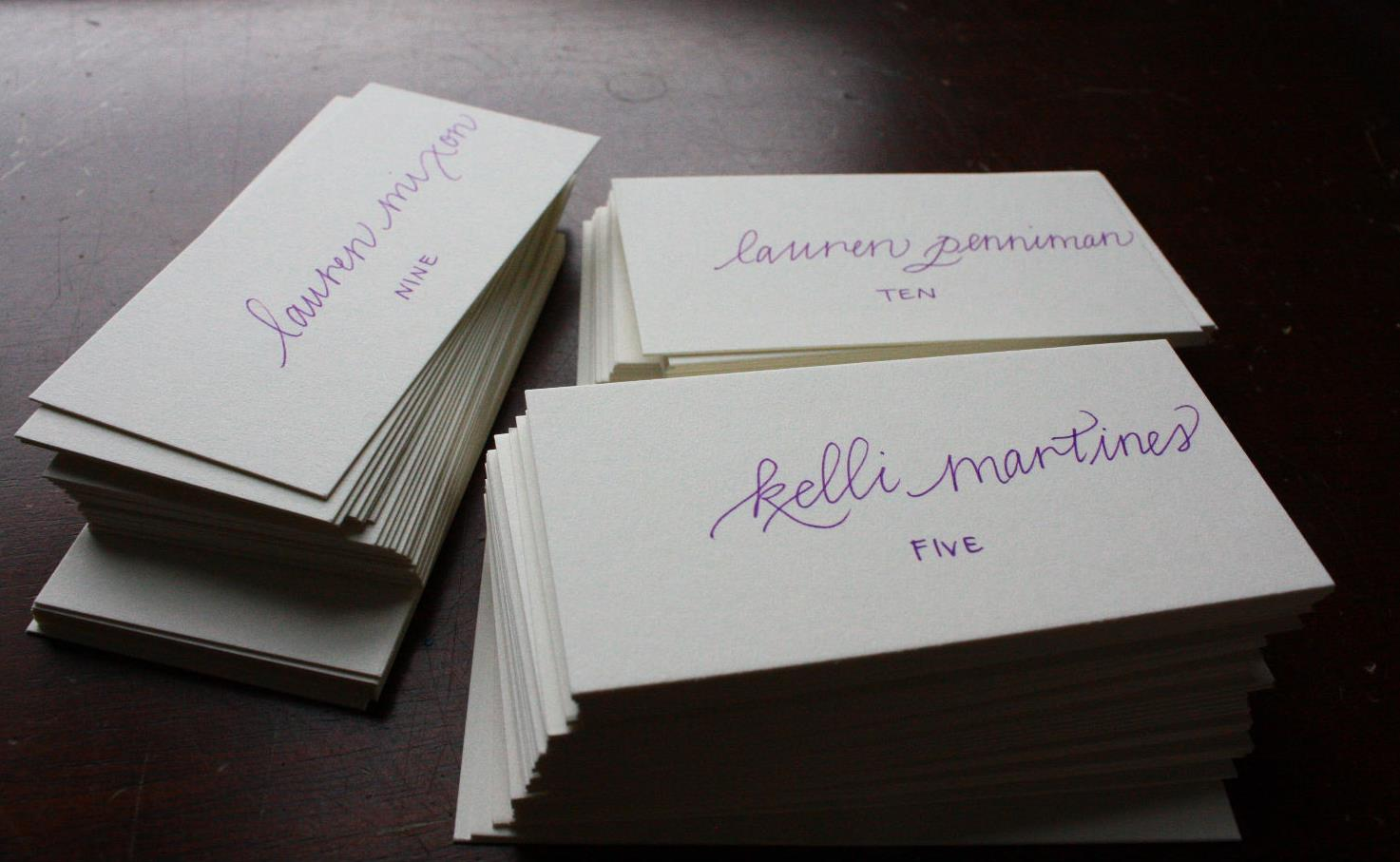 Escort cards, which will be turned into little flags that will be stuck in succulent pots. Such a cute idea!