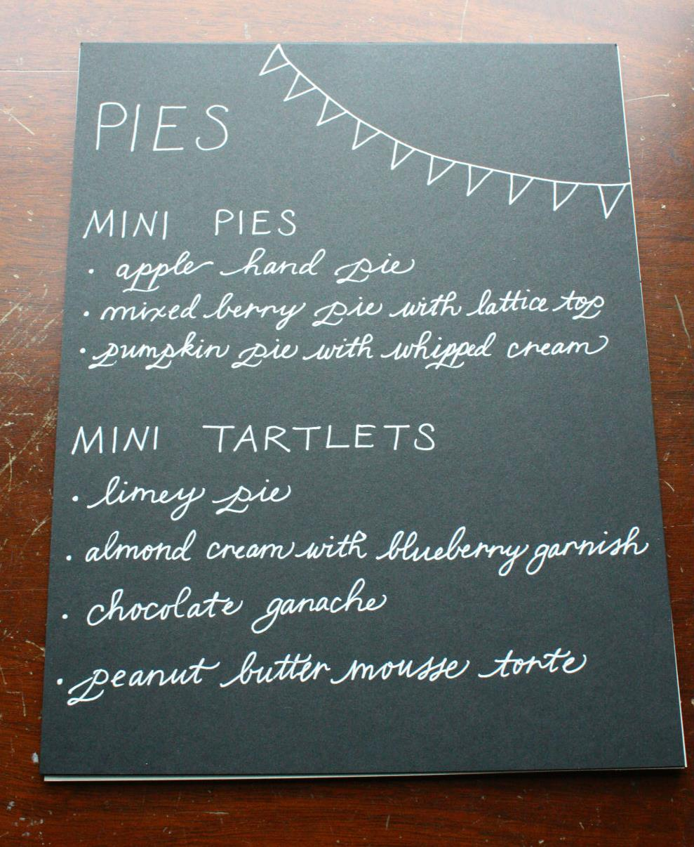 Pie table menu.