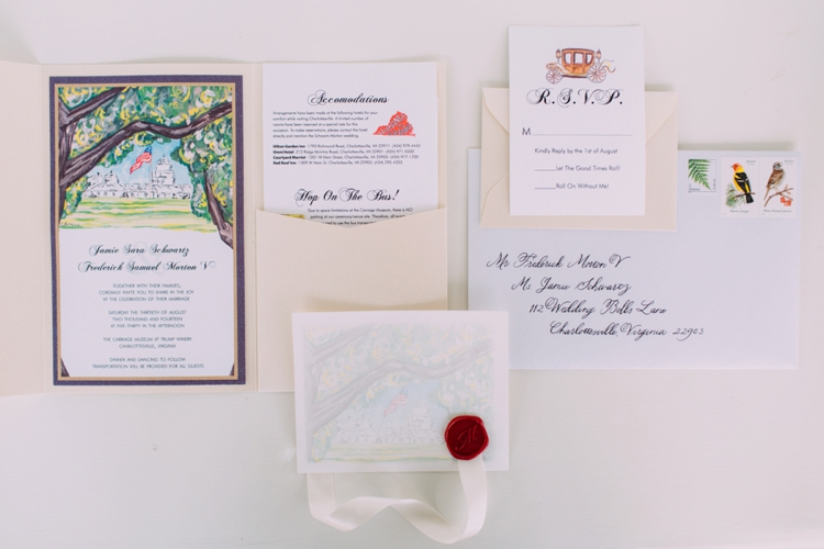 Invitation suite (envelopes by me) / Photo by Morgan Trinker Photography