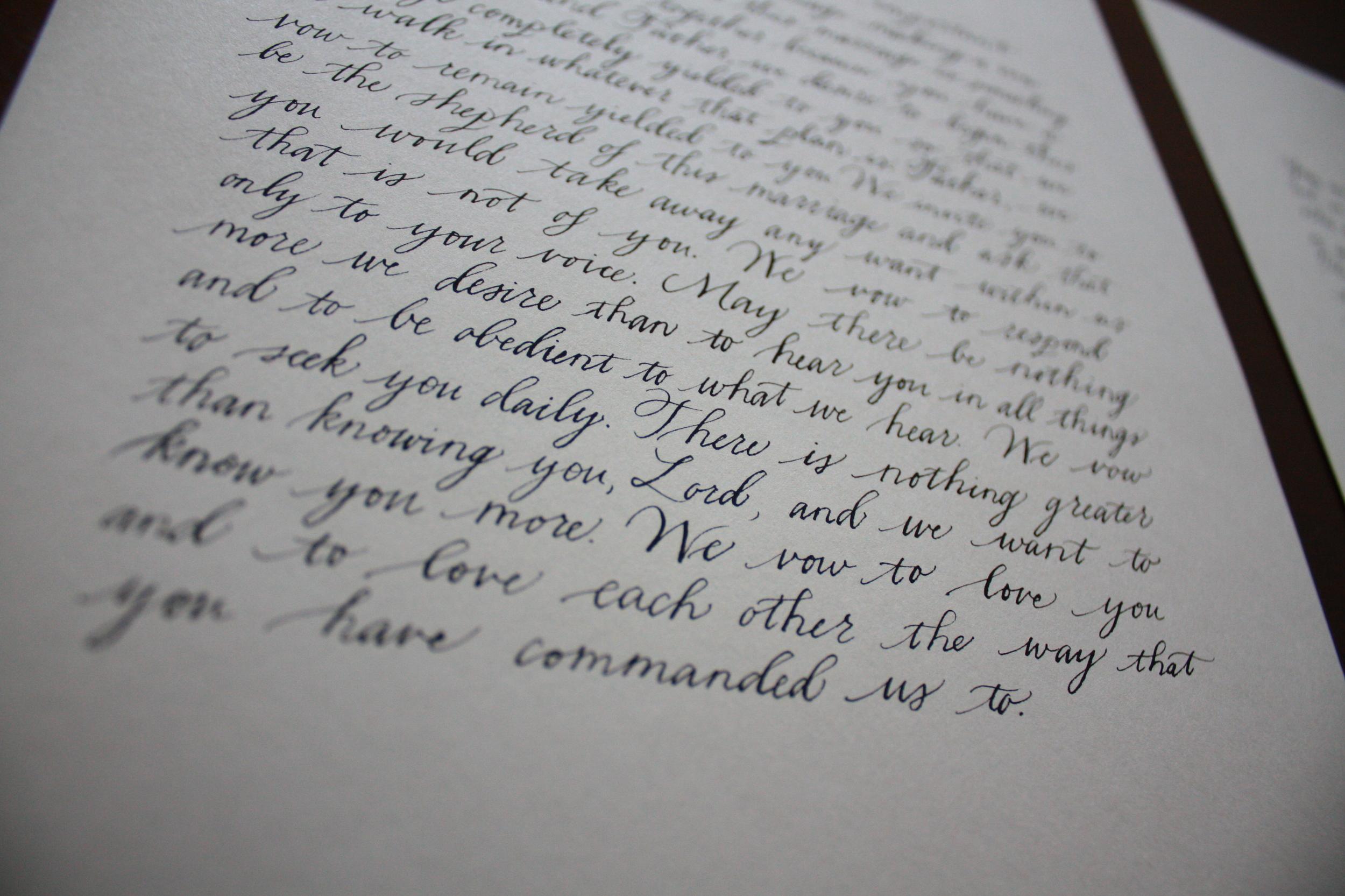 Bluestocking Calligraphy / Wedding prayer