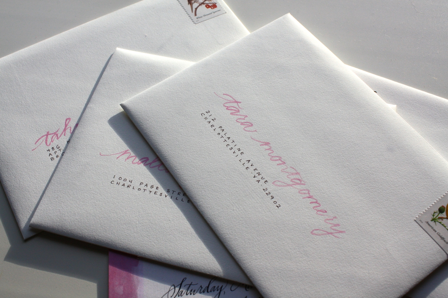 Bluestocking Calligraphy / Bridal shower invitation envelopes