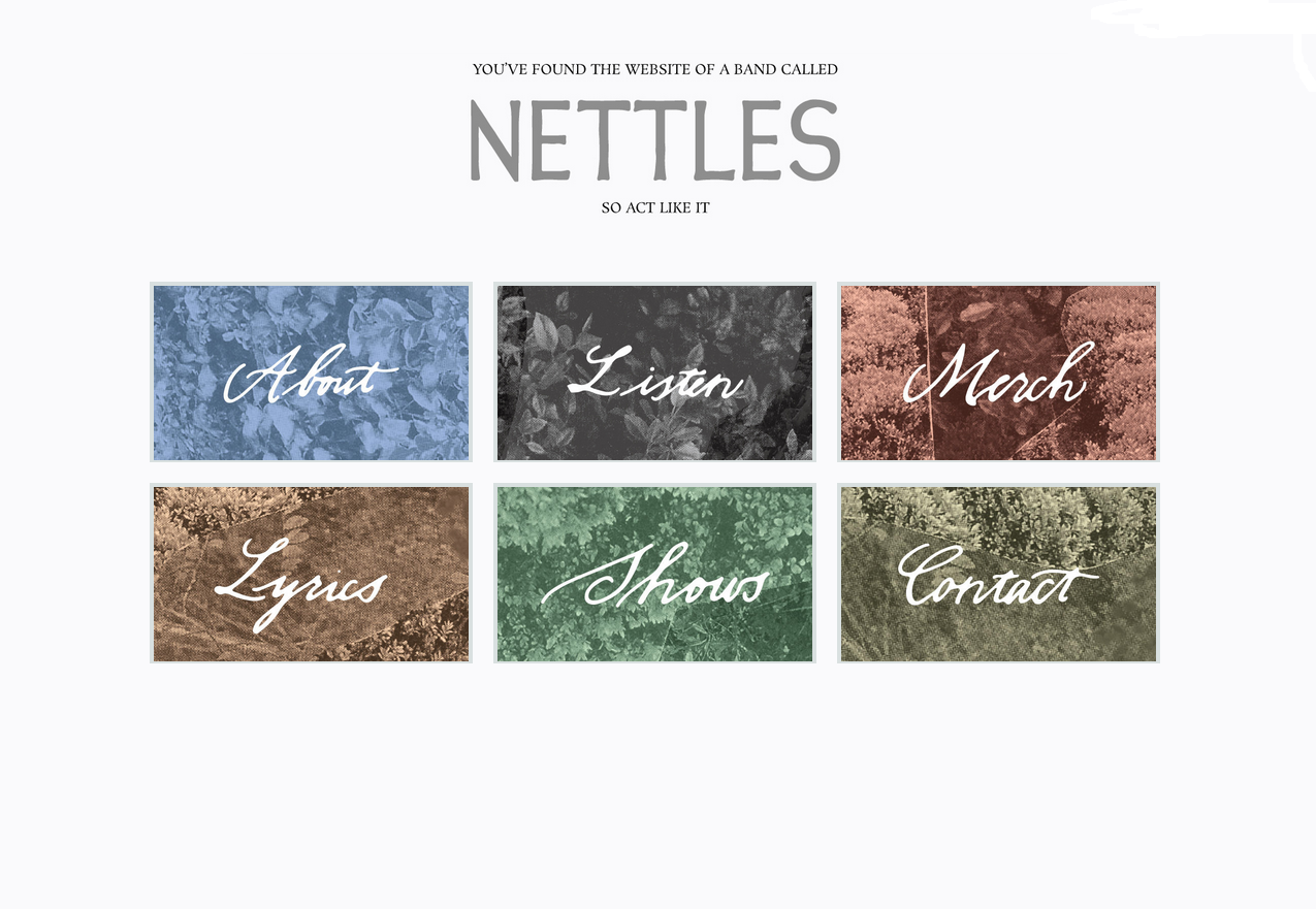 Calligraphy for the Nettles website (January 2015).