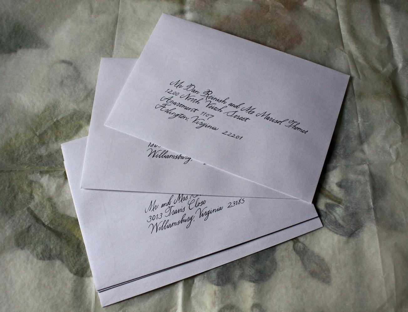 Bluestocking Calligraphy / Charlottesville wedding calligraphy