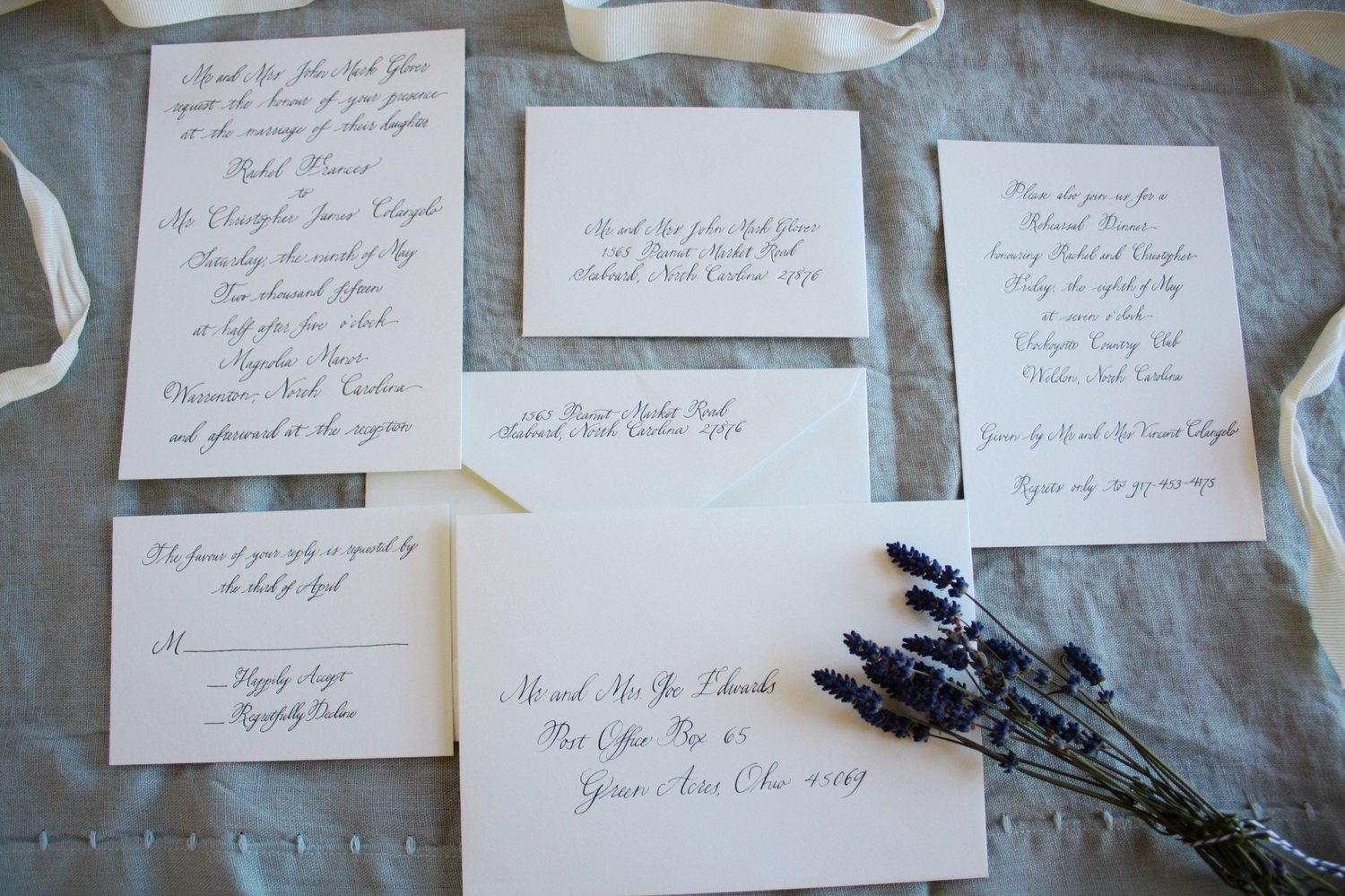 Bluestocking Calligraphy / Letterpress invitation suite