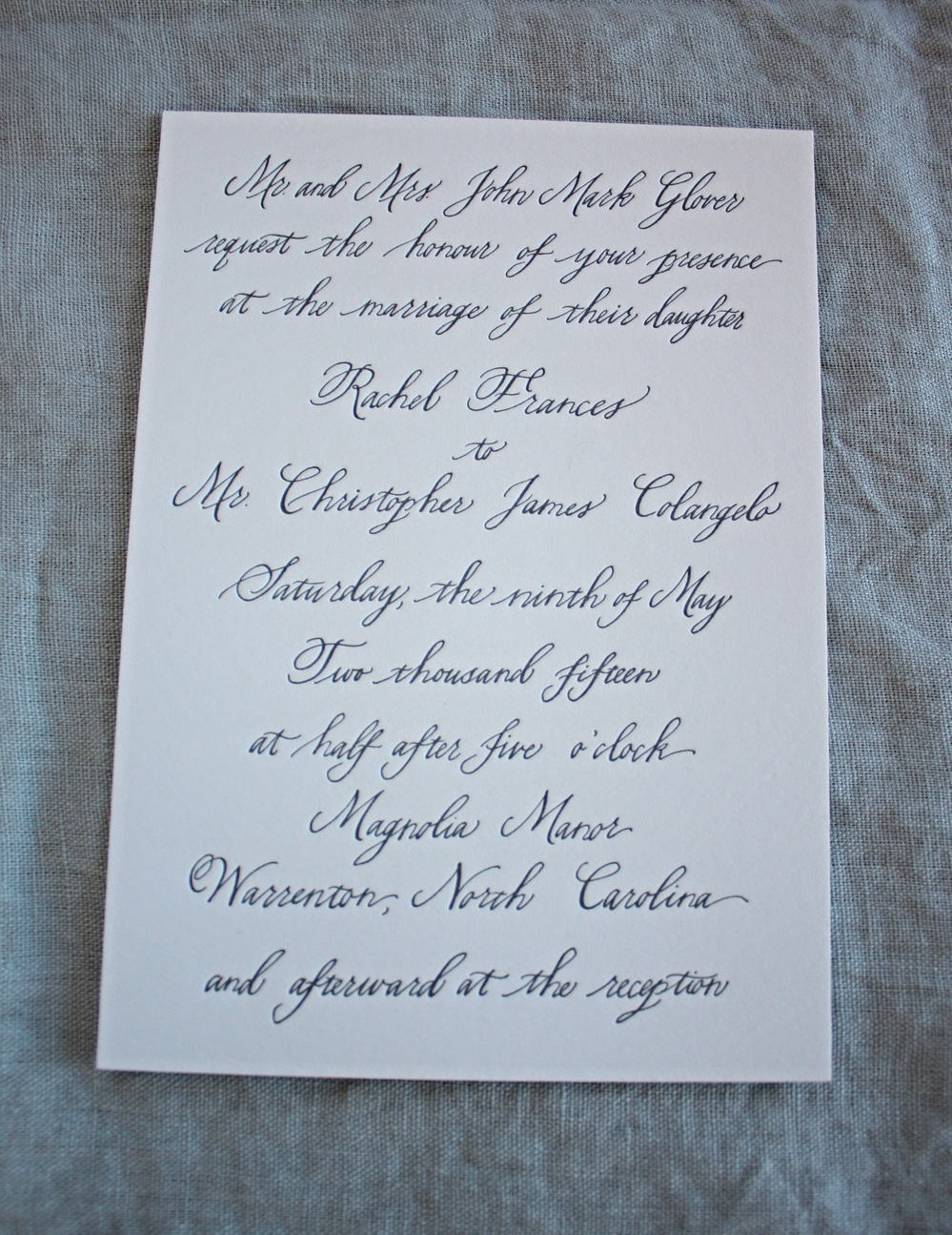 Bluestocking Calligraphy / Wedding invitation