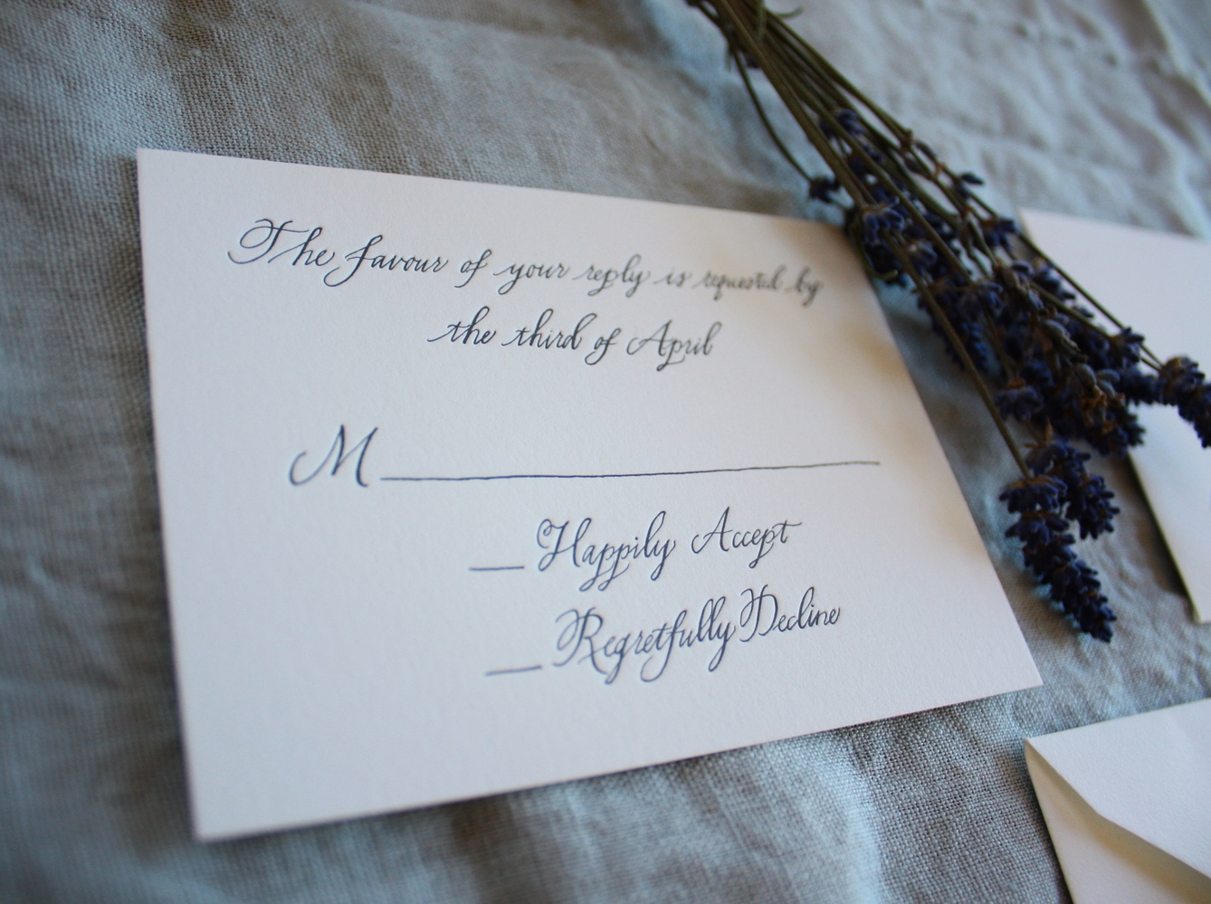 Bluestocking Calligraphy / RSVP card