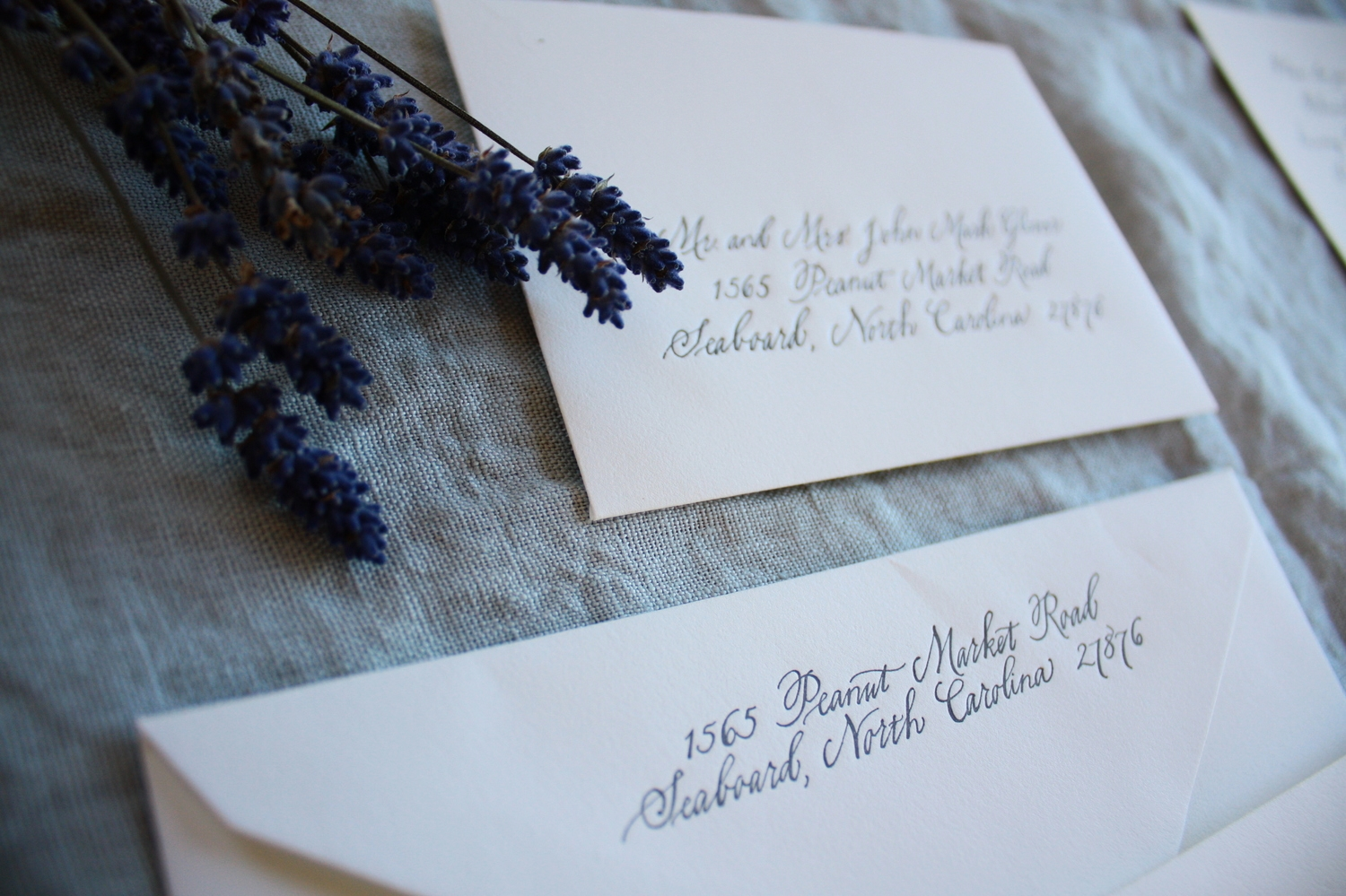 Bluestocking Calligraphy / Return addresses for wedding invitation suite