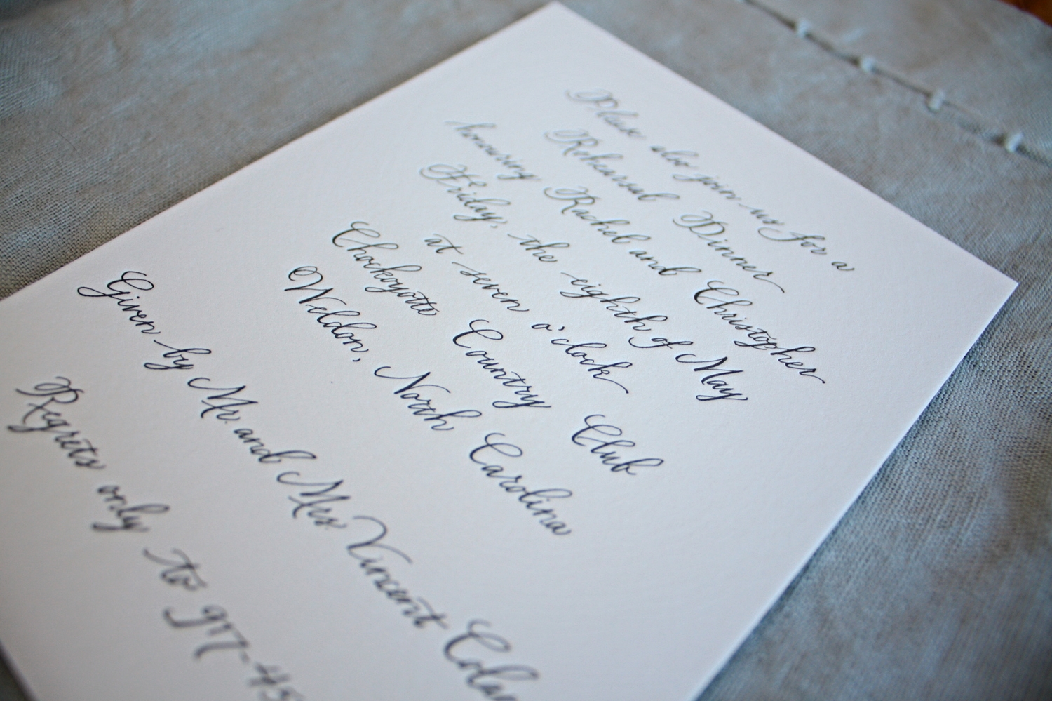 Bluestocking Calligraphy / Rehearsal dinner invitation