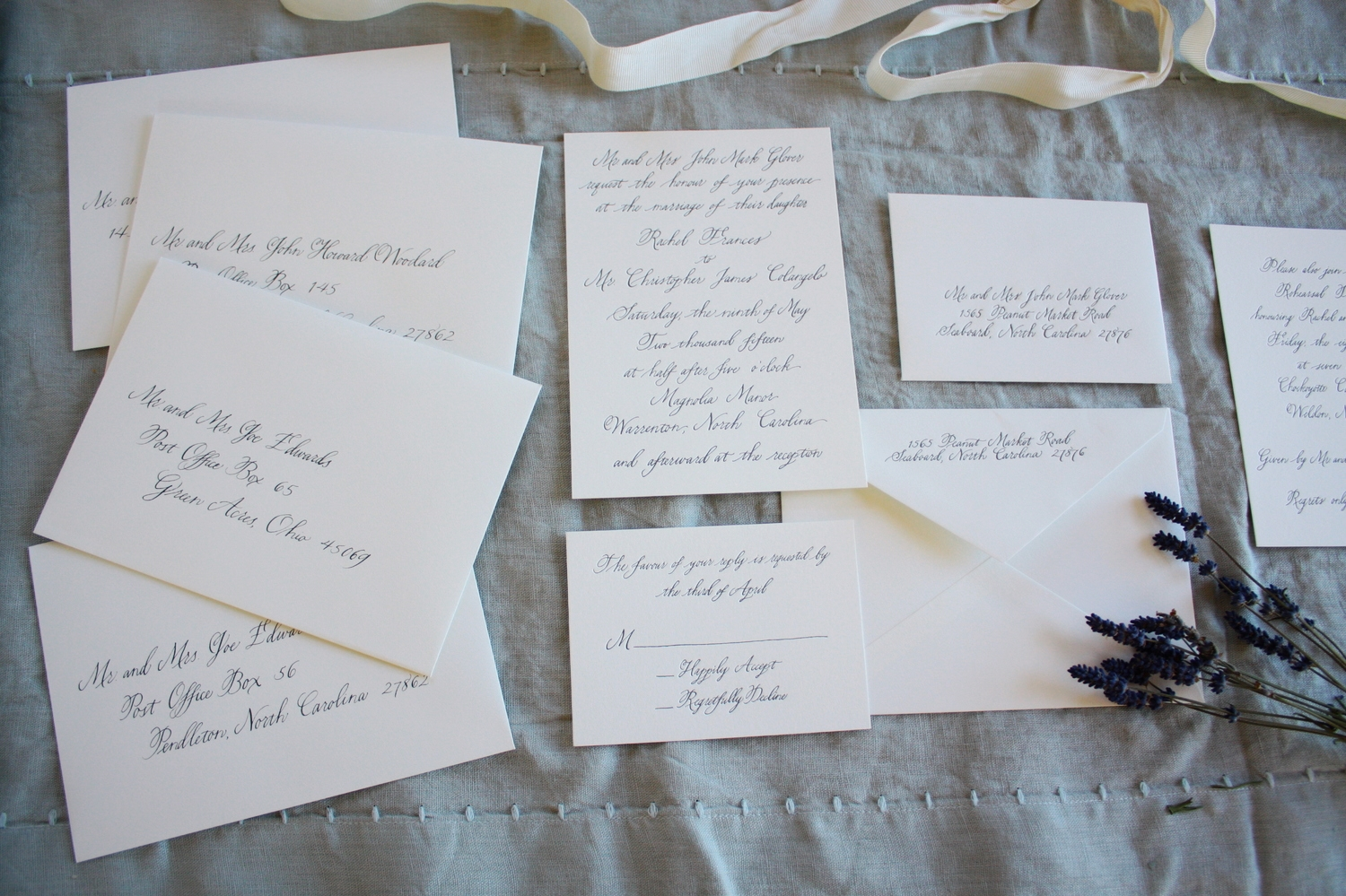 Bluestocking Calligraphy / Invitation suite