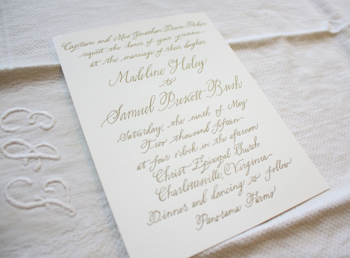 Bluestocking Calligraphy / Letterpress wedding invitation