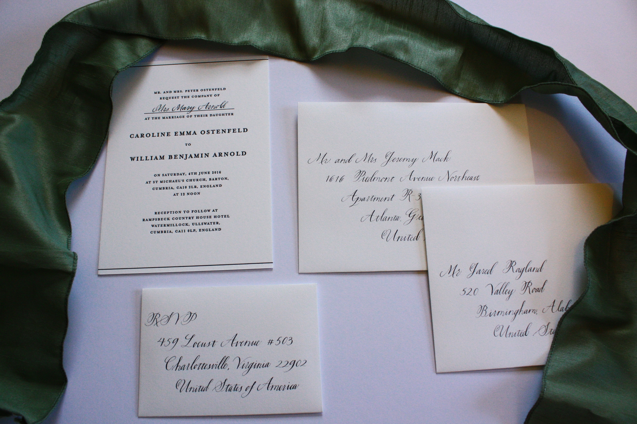Bluestocking Calligraphy / English wedding invitation suite