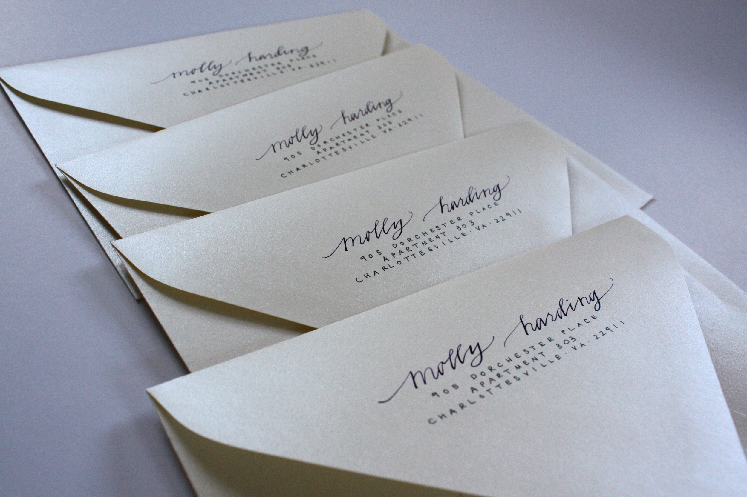 Bluestocking Calligraphy / Return addresses in Della style