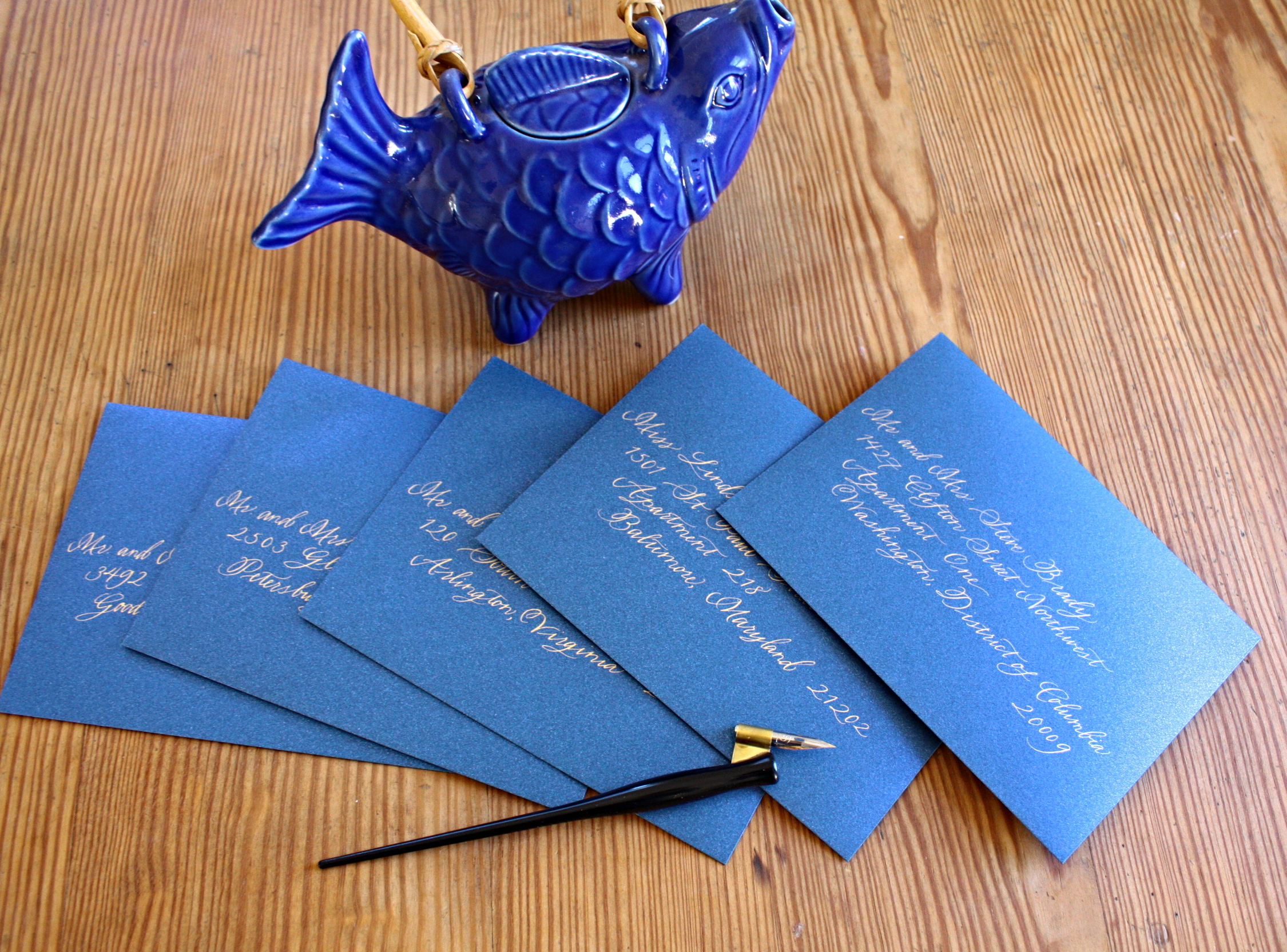 Bluestocking Calligraphy / Wedding invitation envelopes in gold ink