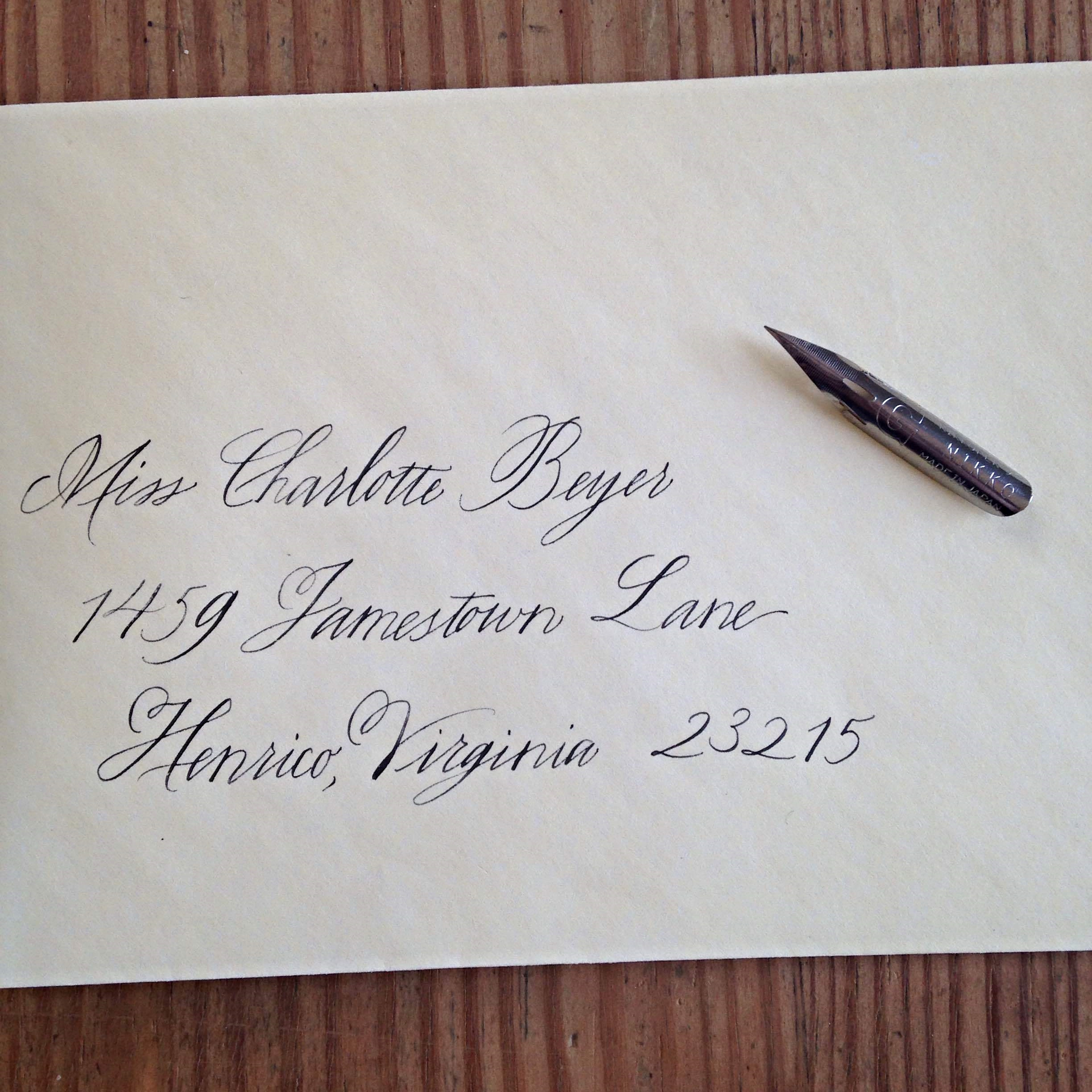 The traditional way to address an envelope to an unmarried woman / Bluestocking Calligraphy
