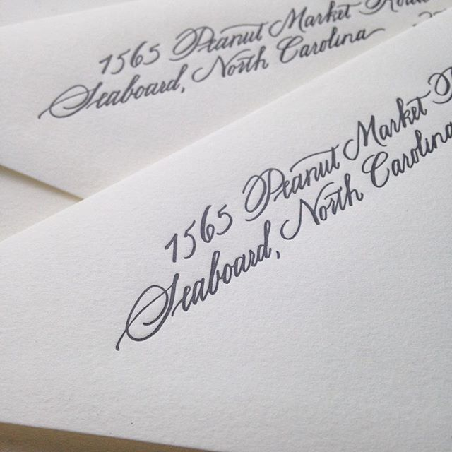 Letterpressed return addresses! Invitations by @rps_cville, calligraphy by yours truly.