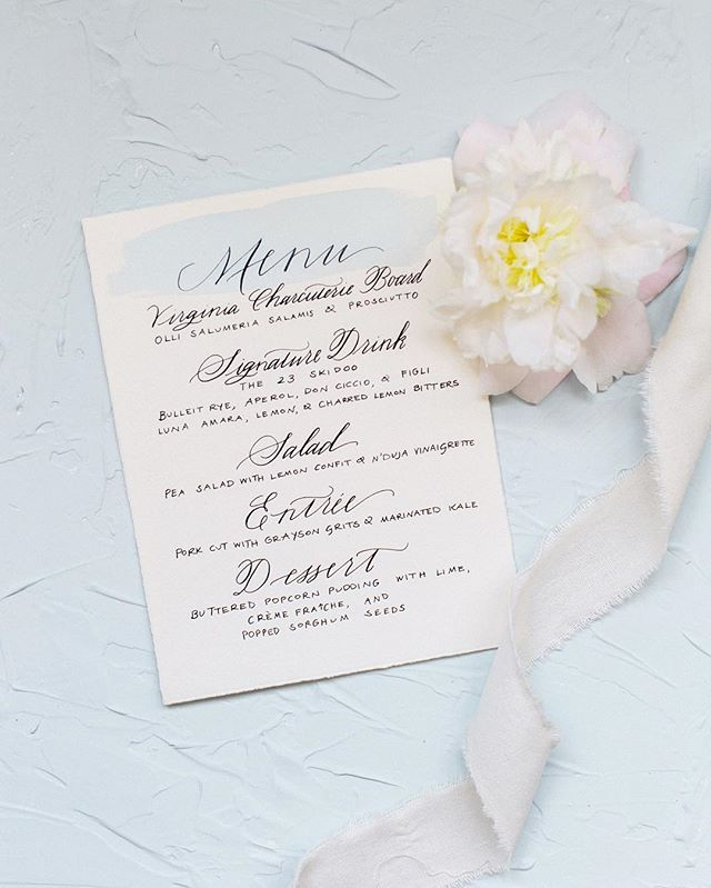 Spring, how we've needed you! Menu for a styled shoot. Photo by @amynicolephoto.