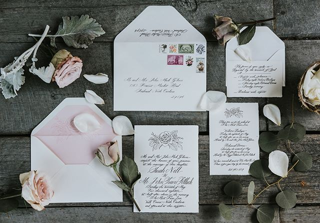 What a delight to create calligraphy for Sarah and Travis's beautiful North Carolina wedding! Invitation design by @rps_cville and photography by @hartmanoutdoorphotography.