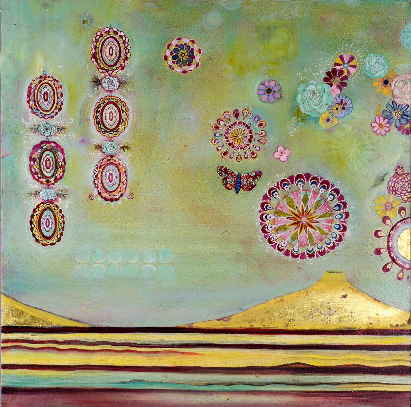 """Planetary Memory (Eighth Heaven) Oil, gold leaf on canvas 36"""" x 36"""" SOLD"""