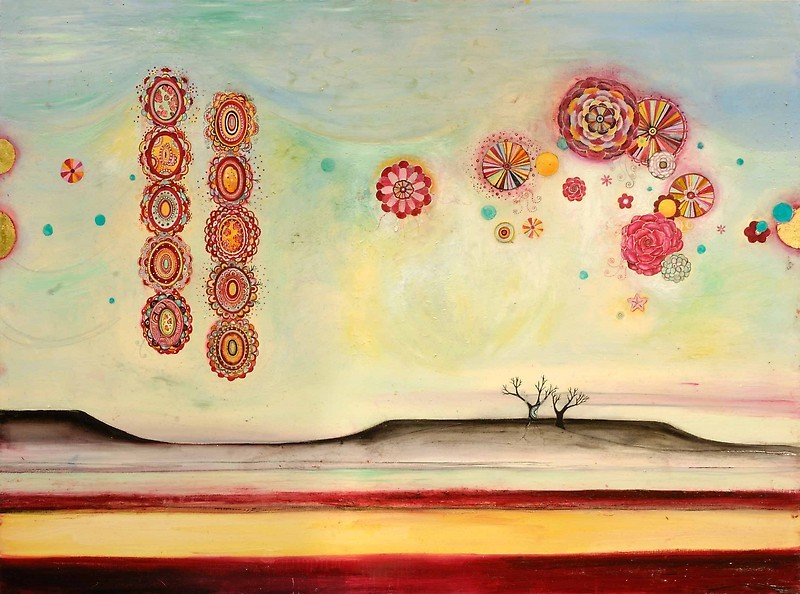 """Planetary Memory (Fire) Oil, graphite, gold leaf on canvas 48"""" x 36"""" SOLD"""