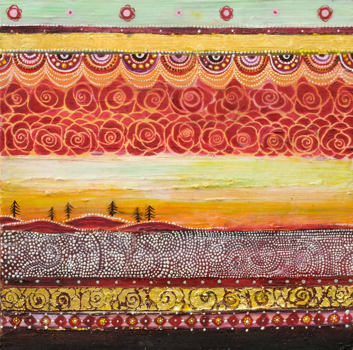 """Horizontal Tapestry (Land with Hidden Sun) Oil, graphite, gold leaf on canvas 10"""" x 10""""/ SOLD"""