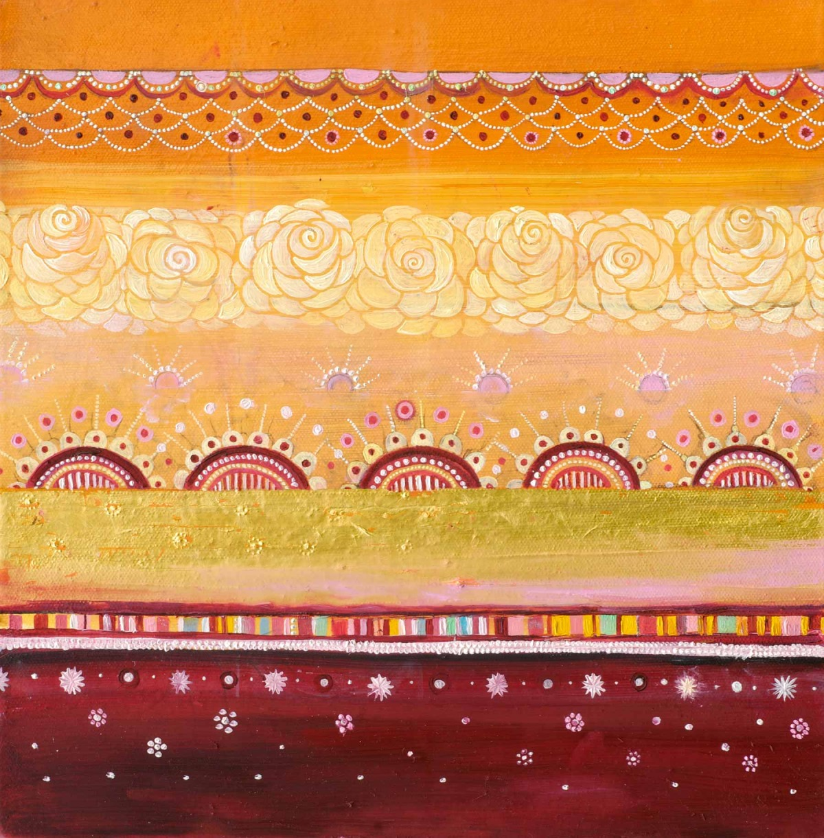 """Horizontal Tapestry (Five Suns) Oil, graphite, gold leaf on canvas 12"""" x 12"""""""