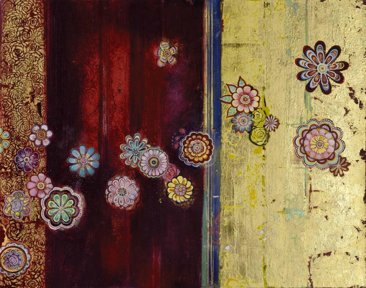 "Vertical Tapestry (River of Plenty) Oil, graphite, gold leaf on canvas 22"" x 28"" / SOLD"