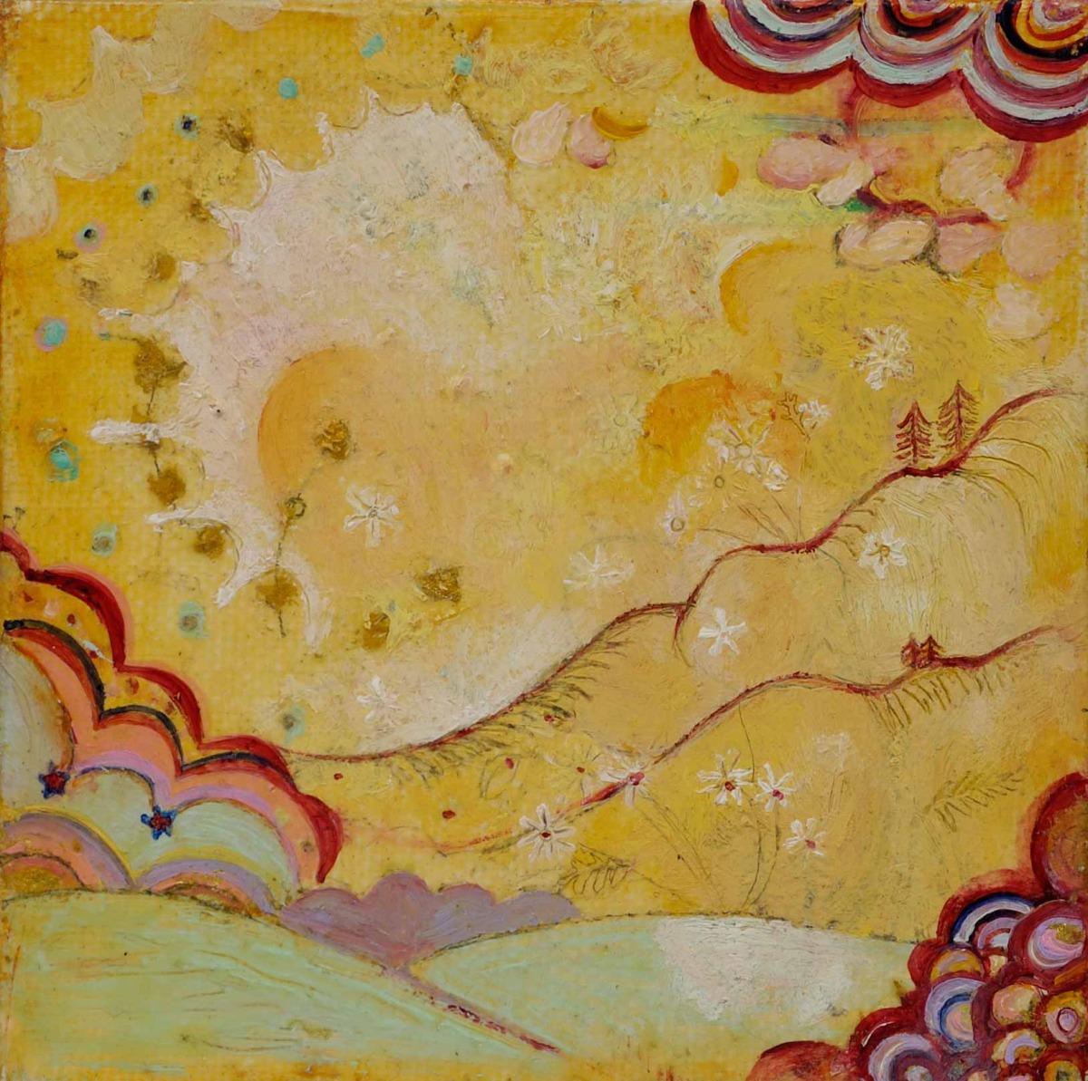 "Mountain Illumination Oil, graphite, gold leaf on canvas 4"" x 4"" / SOLD"