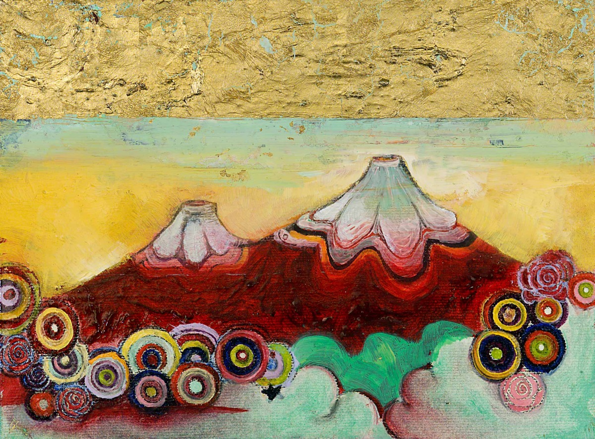 """Gold Sky Mountain Oil, graphite, gold leaf on canvas 5"""" x 8"""" / SOLD"""