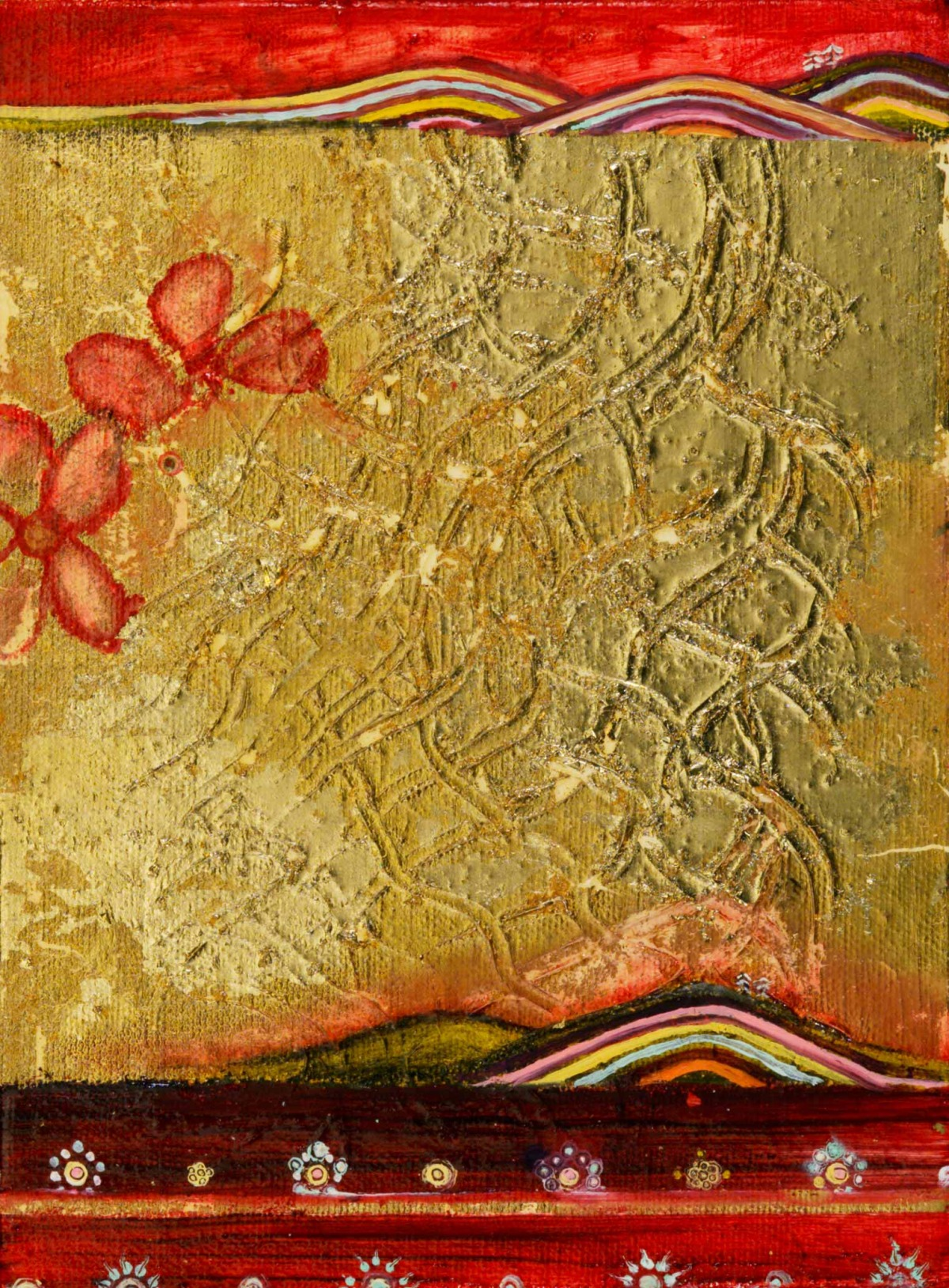 """Double Landscape (with Textured Gold) Oil, graphite, gold leaf on canvas 6"""" x 8"""" / SOLD"""