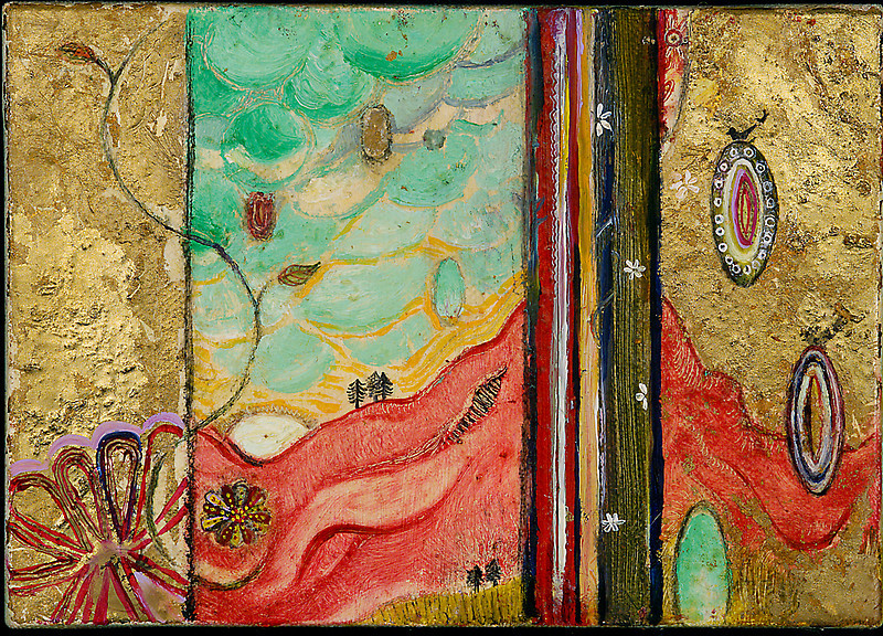 """Red Mountain with Bird Oil, graphite, gold leaf on canvas 5"""" x 7"""" / SOLD"""
