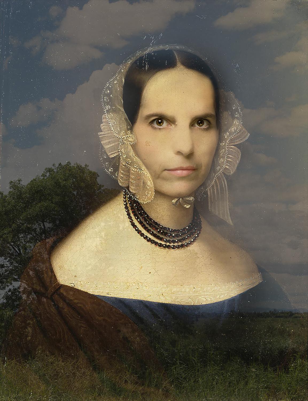 Myself as Woman with a Garnet Necklace (1843-2015) - Original by Johan Huber Rudolf