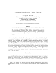 via  cogprints.org        (via lesswrong.com)  Using argument mapping software improves critical reasoning, according to this paper by Charles Twardy. I'm definitely interested in looking more into this, as there is a great deal of work in science education being done on students' scientific reasoning skills (something I am interested in), specifically, scientific argumentation.  Argument mapping seems like a valuable educational tool for students at the K-12 level (I'm assuming this was done at undergraduate level - I may be wrong). This could be a great area to provide more evidence from K-12 classrooms to see if these interventions have a positive effect.