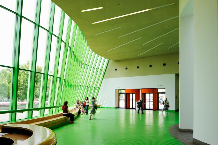 "Entry hall, Neue Staatsgalerie, Stuttgart.  ""This  large complex I hope supports the Monumental   and   informal, also the Traditional   and   High Tech."" --Stirling."