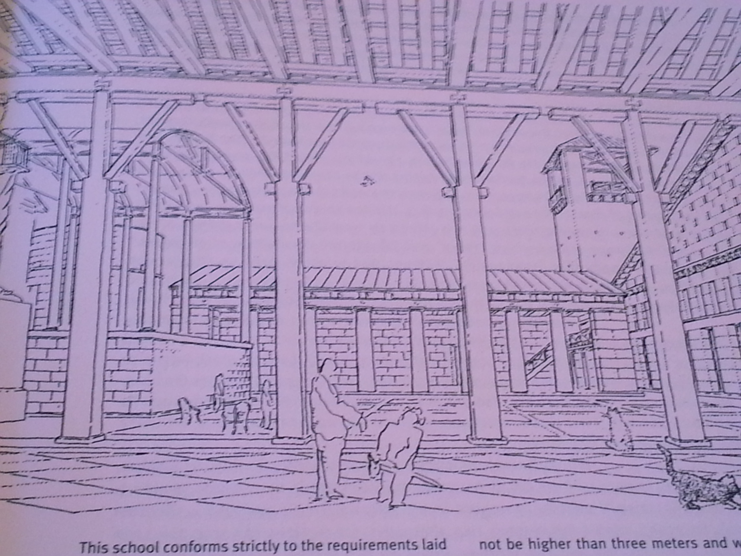 Leon Krier, Sketch of the School at Quentin-en-Yvelines, 1977-1979