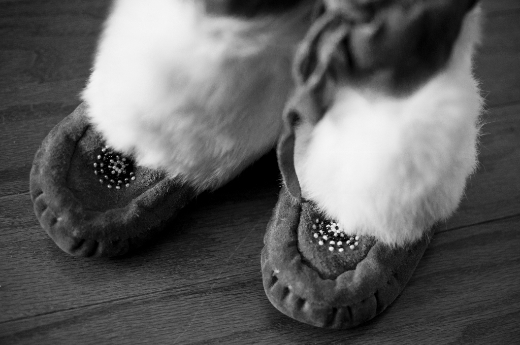 Handmade in the early 1980's, these mukluks belonged to me as a toddler.