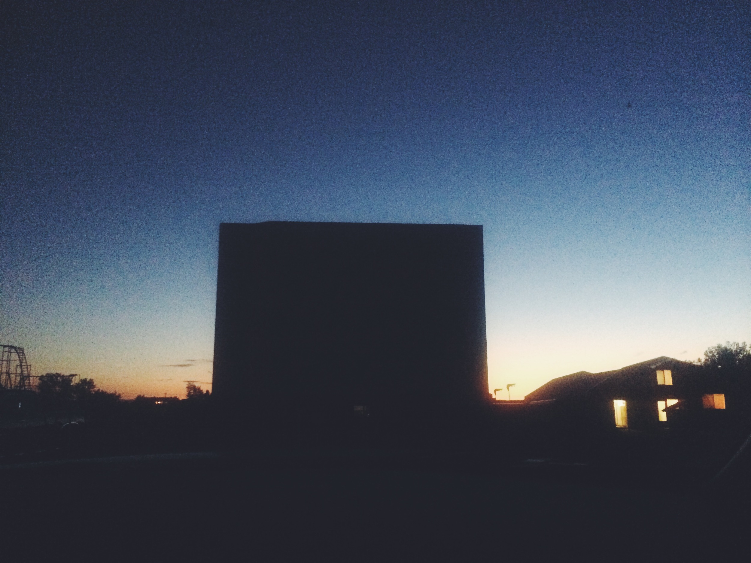 Our drive in movie experience in where we let the rental car battery die out because we didn't know how to turn off the darn dash lights! We were 1 of 3 cars there that night. Scary. Thanks for the jump Laurel Amusement Park Drive-In.