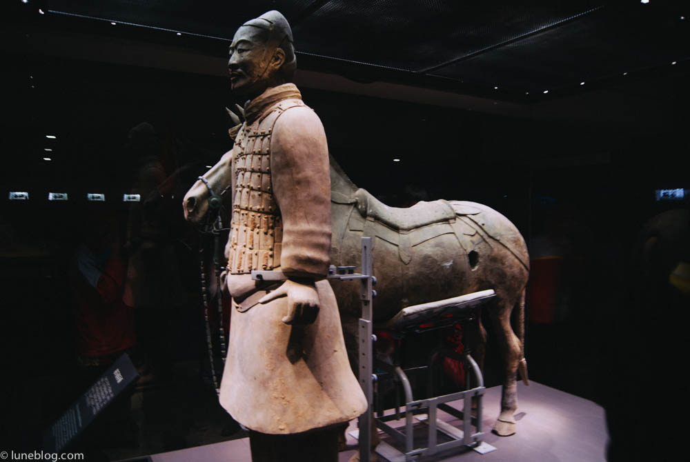 A point of interest - the hole in the terra cotta horse was intentional as it let the gases and pressure escape while in the kilns. Otherwise the figure would explode during firing!