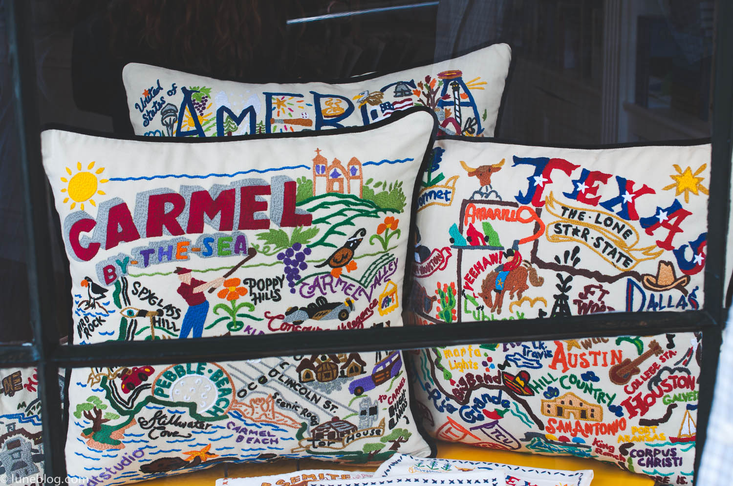 carmel by the sea pendelton embroidered pillows lune travels blog