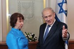 Click photo to download. Caption: Catherine Ashton, High Representative for Foreign Affairs and Security Policy of the European Union, meets with Israeli Prime Minister Benjamin Netanyahu at Netanyahu's office in Jerusalem on October 24, 2012. Credit: Moshe Milner/GPO/FLASH90.