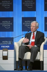 "Click photo to download. Caption: Bank of Israel Governor Stanley Fischer talks during the session ""Redesigning Financial Regulation"" at the Annual Meeting of the World Economic Forum in Davos, Switzerland, January 30, 2010. Credit: World Economic Forum."