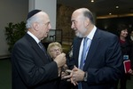 """Click photo to download. Caption: Ron Prosor (right), Permanent Representative of Israel to the UN, chats with Rabbi Arthur Schneier, Senior Rabbi at Park East Synagogue in New York, before an event at UN Headquarters on """"Children and the Holocaust"""", held to mark the International Day of Commemoration in Memory of the Victims of the Holocaust. Between Mr. Prosor and Rabbi Schneier, is famed psychotherapist Dr. Ruth Westheimer. Credit: UN Photo/JC McIlwaine."""
